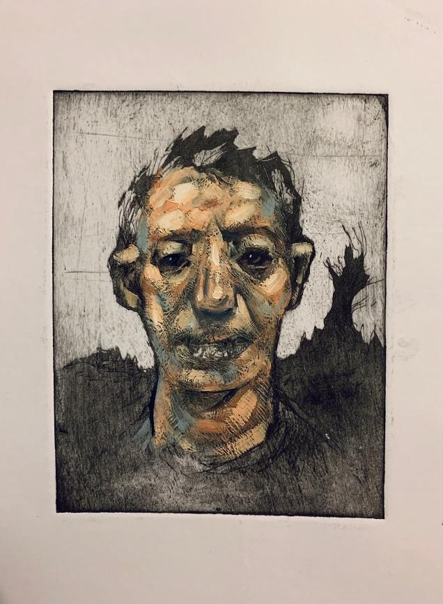Portrait on etching